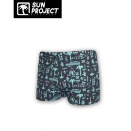 SUN PROJECT Children's Swim Boxer - Blue Palm