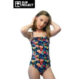 One Piece Swimsuit Child SUN PROJECT Black Floral