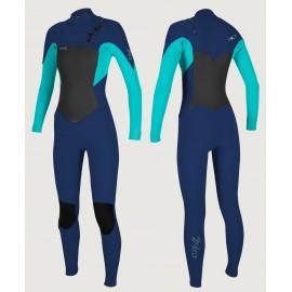 O'Neill Epic 3/2mm Chest Zip Navy Light Aqua Women Wetsuit