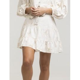 RHYTHM Banksia Tiered Mini White Skirt