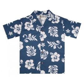Junior Shirt ALOHA REPUBLIC Hibiscus Navy