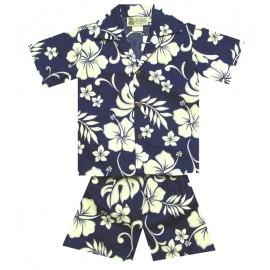 Junior Set Shirt and Short Aloha Republic Hibiscus Navy