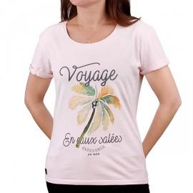 Tee Shirt Femme STERED Voyage En Eaux Salées Rose Poudré
