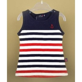 Baby Dress PAPYLOU Arzon Navy Red and White