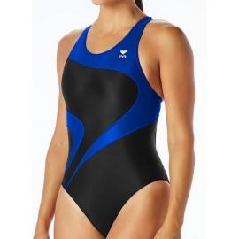 Woman swimsuit one piece TYR Alliance Splice Maxfit Black Blue