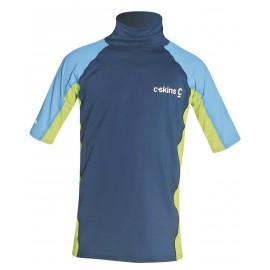 Junior C-Skins Rash X Short Sleeve Vest Navy Lime Blue