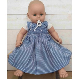Hand-Embroidered Hand-Embroidered Baby Dress Ocean Stripe Blue