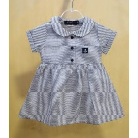 Papylou Cannet Baby Dress White and Navy