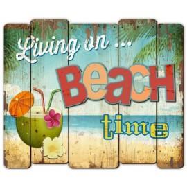 Tableau En Bois Living On Beach