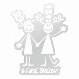 Autocollant Couple A L'Aise Breizh ( 11.50/9cm)Petit Blanc