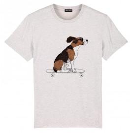 Tee Shirt Homme OCEAN PARK Skate Dog Blanc Cassé Chiné