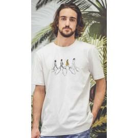 Tee Shirt Homme OCEAN PARK Surf Road Blanc Cassé Chiné