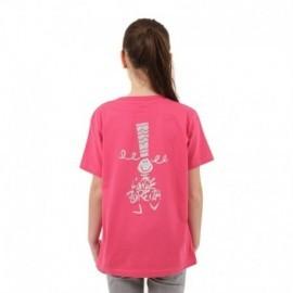 Tee Shirt A L'Aise breizh Fille Bigoud Fushia Paillette