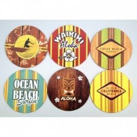 Pack 'Ola Ketal' de 6 dessous de verres surf
