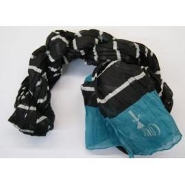 A-Line Scarf Breizh Arctic Striped Black Turquoise