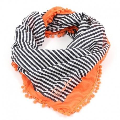 Woman scarf A L'Aise Breizh Verdana striped jeans apricot
