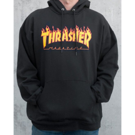 Thrasher Hood Sweat Flame Black