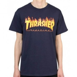 Flame Logo Navy Thrasher Tee Shirt