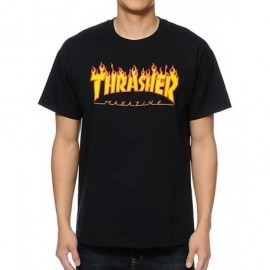 Tee Shirt Thrasher Logo Flame Black