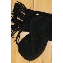 Echarpe Femme RMOUNTAIN Trict Losanges unie Black Franges
